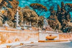 Fountain of Rome's Goddess and Terrace de Pincio (Terrazza del Pincio) near People Square (Piazza del Popolo)  in Rome. Italy.