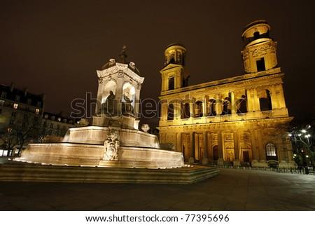 Fountain of Saint Sulpice (created in 1844) and the church Saint Sulpice, Paris, France.