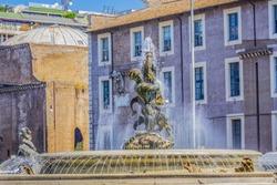 Fountain of the Naiads on Piazza della Repubblica. Rome. Italy.
