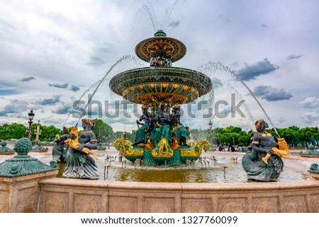 Fountain of the Seas (Fontaine des Mers) on place de la Concorde square in Paris, France #1327760099