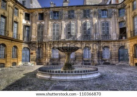 Fountain on Albertas square, Aix-en-Provence, France.
