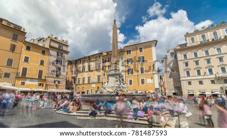 Fountain on the Piazza della Rotonda is a piazza (city square) in Rome, Italy, on the south side of which is located the Pantheon at Rome, Italy. Cloudy blue sky #781487593