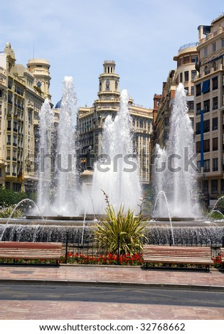 Fountain on the Square of town hall (Plaza del Ayuntamiento) ? Valencia, Spain