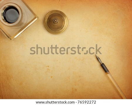 Fountain pen and inkwell and old paper - stock photoFountain Pen And Inkwell