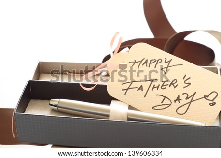 fountain pen in gift box and hand written greeting card for father's day image
