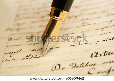 Fountain pen is writing on a letter  Сток-фото ©