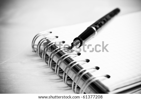 Fountain pen notebook in composition in black and white