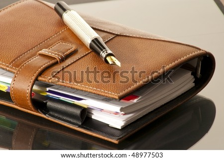 fountain pen on a leather Agenda