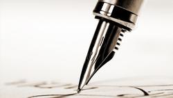 Fountain pen on  handwritten on background