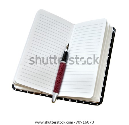 fountain pen on opened diary isolated on white