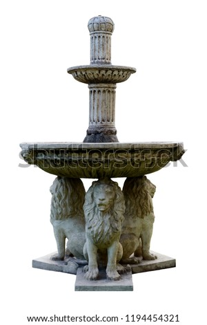 Fountain stone lions. Isolated on white background.