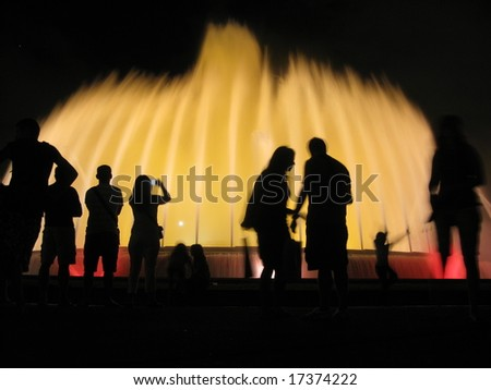 Fountain: water and night lights. Montjuic, Barcelona - stock photo