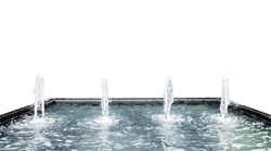 Fountain water spout spray in luxury basin on white background