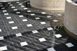 fountain water with designed tiles