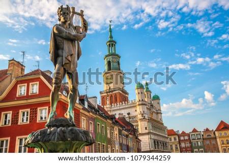 Fountain with statue of Apollo in old town square. Poznan. Poland