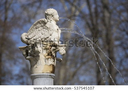 Fountains and gardens of the palace of Aranjuez in Madrid, Spain