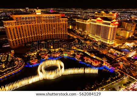 Fountains and hotels  on Las Vegas strip at night