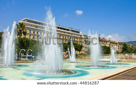 Fountains at Plaza Massena Square in the city of Nice, France