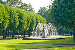 Fountains in park in Saint-Petersburg, Russia