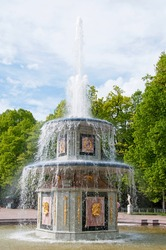 Fountains in Petergof park. The Roman fountain