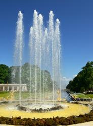 Fountains of the Grand Cascade, palace-ensemble Peterhof. Saint Petersburg, Russia