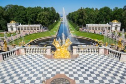 Fountains of the Grand Cascade, Saint-Petersburg, Russia. The park ensemble of Peterhof belongs to the world heritage of UNESCO