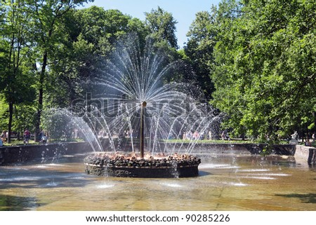 "Fountains ""Sun"" at Peterhof Palace garden, St. Petersburg - stock photo"
