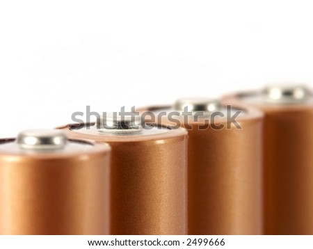 Four AA batteries isolated on white.