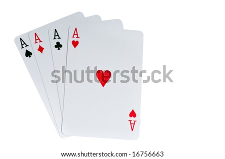 Four aces cards to win poker game - stock photo
