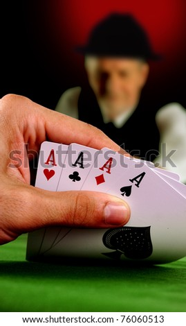Four aces in a poker game