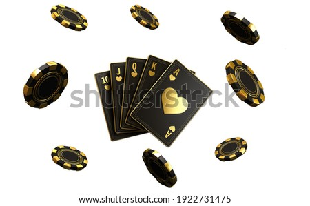 Four aces in five playing card with black gold design on background.  chip gold 3d model illustration 3d render Сток-фото ©