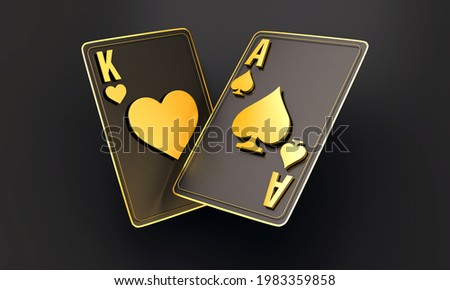 Four aces in 2 playing card with black gold design on background. chip gold 3d model illustration 3d render