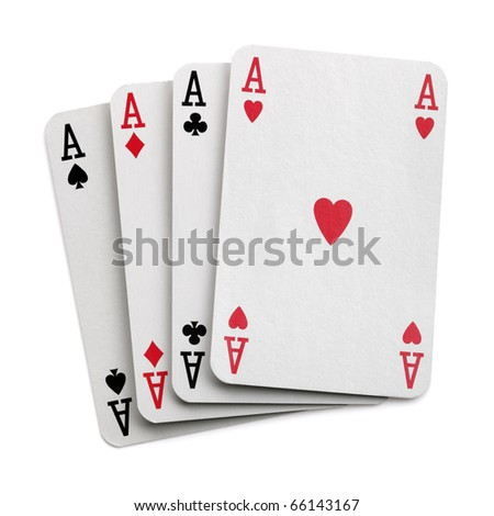 Four aces isolated on white