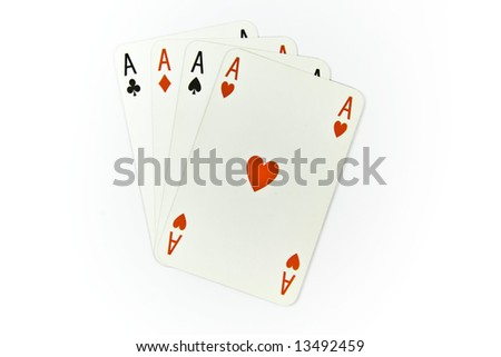 Four aces of cards isolated on white background