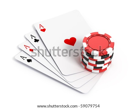 Four aces playing cards and gambling chips