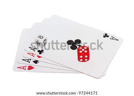 Four aces playing cards and red dice isolated on white background