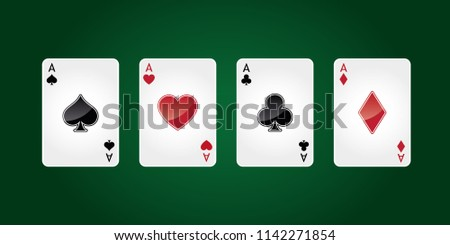 Four aces playing cards suit. Winning poker hand. Vegas Casino vector illustration #1142271854