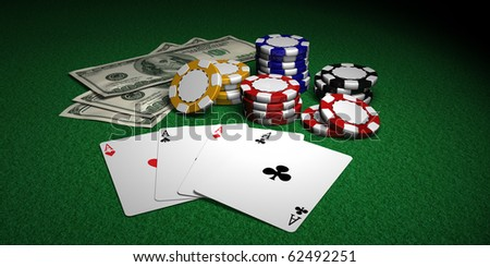 Four Aces, Poker Chips and Dollars