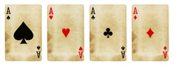 Four Aces Vintage Playing Cards - isolated on white