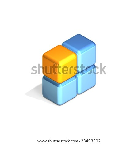 Four Adjacent Cubes in Three Dimensional Isometric Perspective (jpeg file has clipping path)