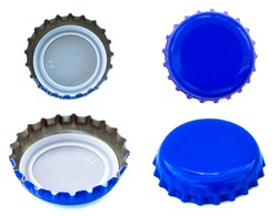 Four angles of blue colored metal caps, used for glass soda bottles. Isolated on white background.