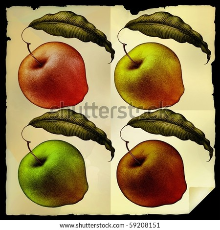 four apples on old paper background isolated and layered, easy to use for your design
