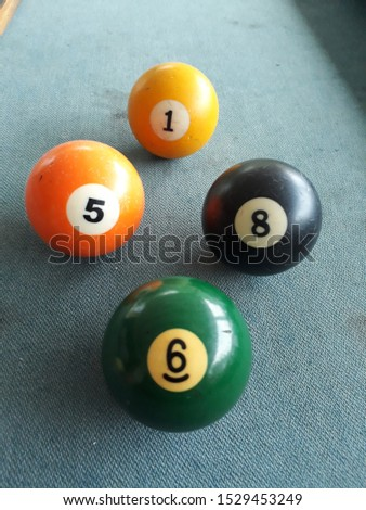 four ball billiard pool snoker number one, number eight, number five, number six