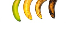 Four bananas - green underripe, ripe, very ripe and over ripe - in line. Banana ripeness. Concept of life cycle, ranging from young to old. White background, isolated.