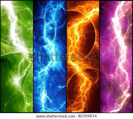 four banners with colorful abstract lightnings