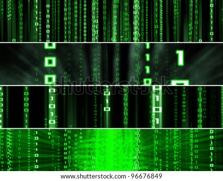 four banners with matrix binary high tech backgrounds