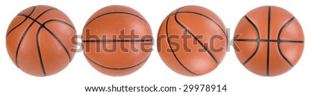 Four basketball ball isolated. Clipping paths - stock photo