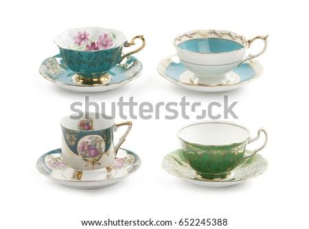 four beautiful vintage tea cups ...