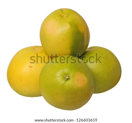 four big pomelo isolated on white background