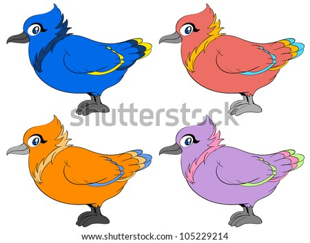 Four birds in different colours - EPS VECTOR format also available in my portfolio.